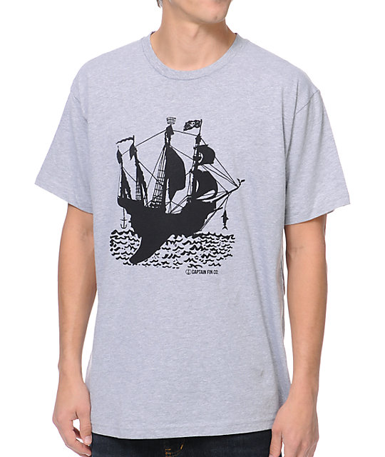 Captain Fin Co. Rudder Heather Grey T-Shirt