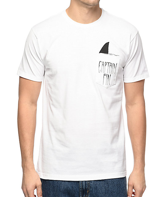 Captain Fin Shark Fin White Pocket T-Shirt