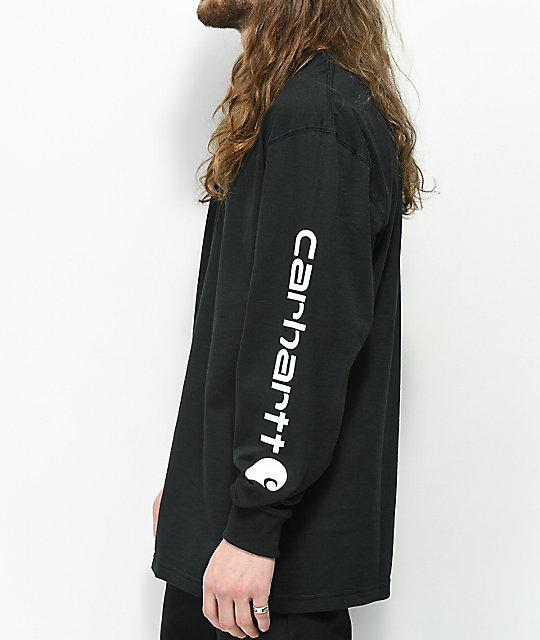 Carhartt Signature Logo Black Long Sleeve T-Shirt
