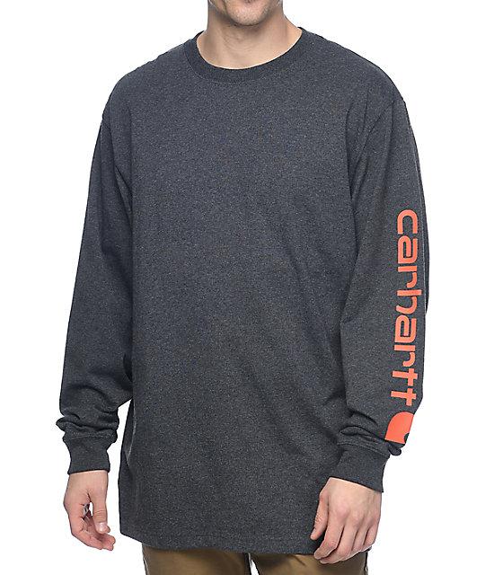 632538ae54e9 Carhartt Signature Logo Long Sleeve Charcoal T-Shirt | Zumiez.ca