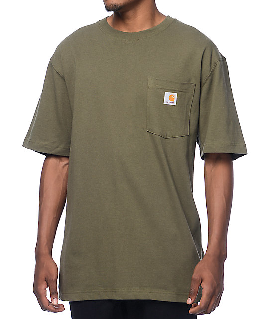 Carhartt workwear army green pocket t shirt zumiez for Carhartt burgundy t shirt