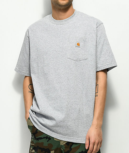 03e9d2af27 Carhartt Workwear Heather Grey Pocket T-Shirt   Zumiez