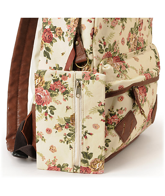Carrot Company Floral Print Beige Canvas Backpack