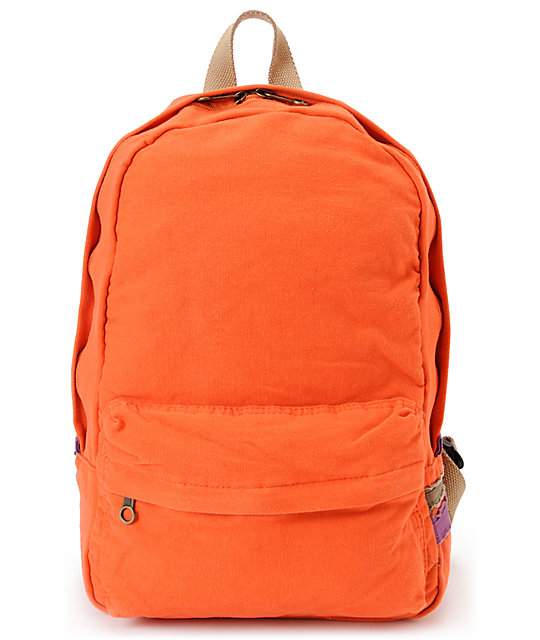 Carrot Company Solid Orange Canvas Backpack