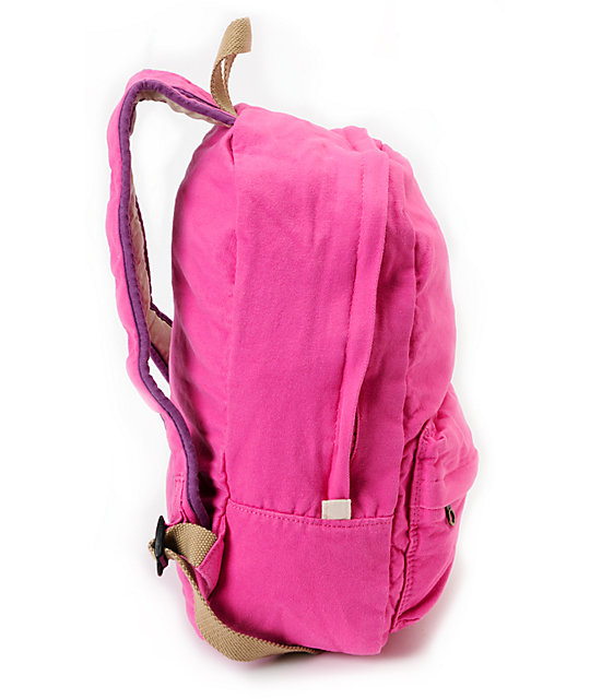 Carrot Company Solid Pink Canvas Backpack