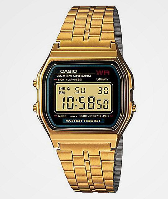 Casio a159wgea 1vt vintage black gold watch zumiez for Watches zumiez