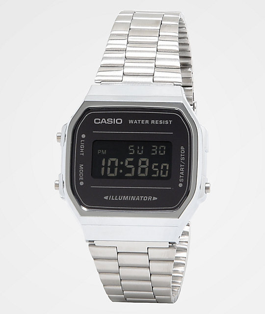Casio A168WEM-1VT Vintage Silver & Black Digital Watch