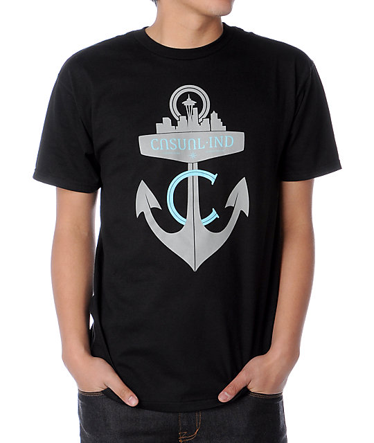 Casual Industrees Anchor Black T-Shirt