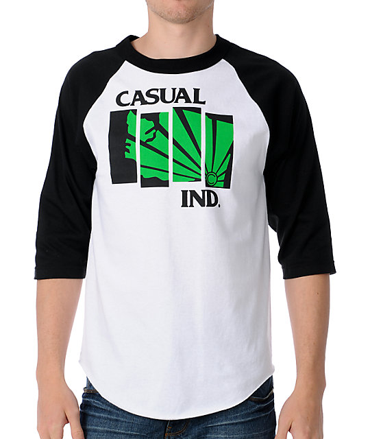 Casual Industrees Black Flag White Long Sleeve T-Shirt
