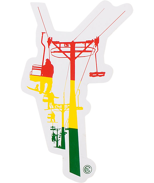 Casual Industrees Chairlift Rasta Sticker