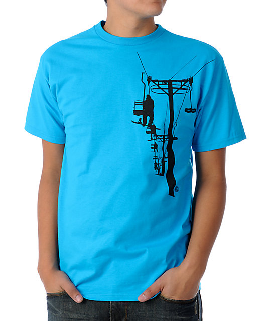 Casual Industrees Chairlift Teal T-Shirt