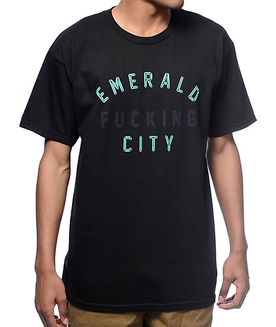 383e39af41476 Casual Industrees Emerald Fucking City Black T-Shirt