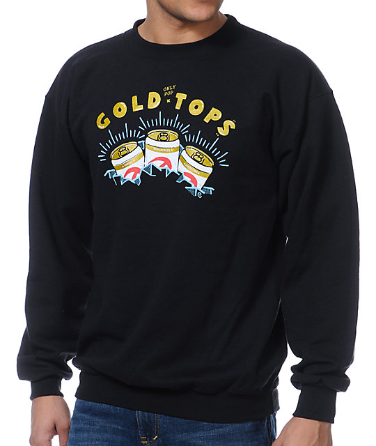 Casual Industrees Gold Tops Black Crew Neck Sweatshirt