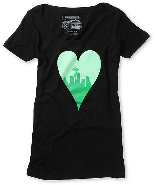 Casual Industrees Heart My City Black Scoop Neck T-Shirt