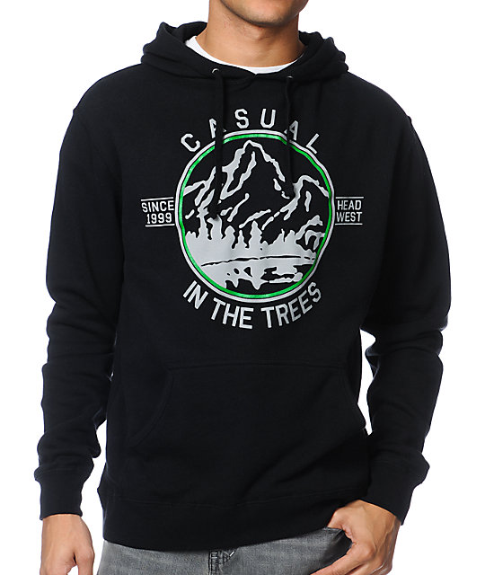 Casual Industrees In The Trees Black Pullover Hoodie