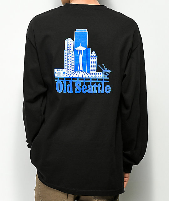Casual Industrees Old Seattle Black Long Sleeve T-Shirt