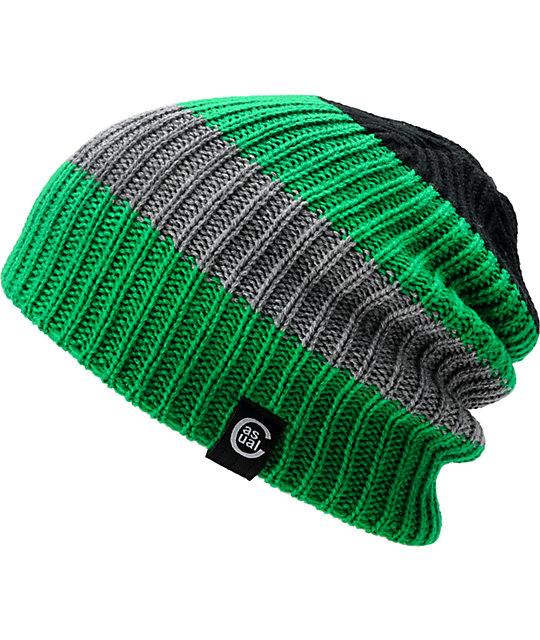 Casual Industrees Quad Green & Grey Reversible Beanie