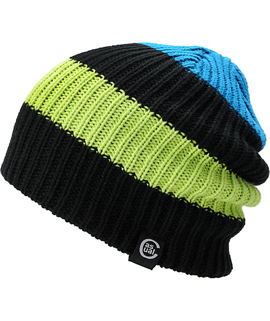 Casual Industrees Quad Lime & Black Reversible Beanie