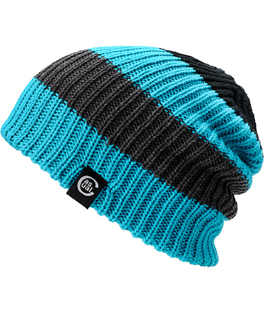 Casual Industrees Quad Turquoise & Grey Reversible Beanie