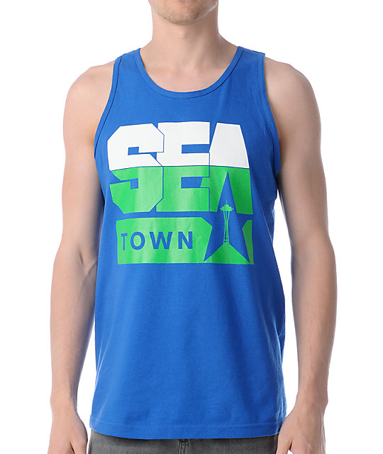 Casual Industrees Sea Town Blue Tank Top