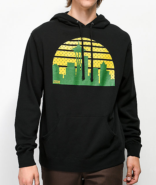 Casual Industrees Seattle Skyline Black Hoodie