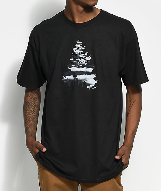 Casual Industrees WA Johnny Tree Above The Clouds Black T-Shirt