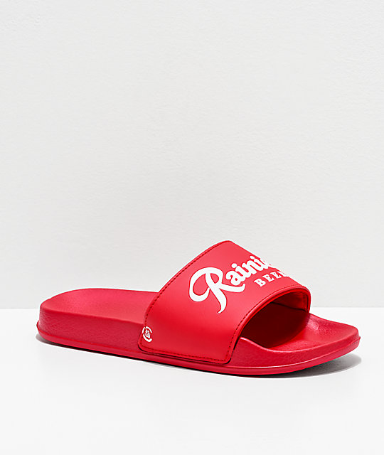 Casual Industrees x Rainier Red & White Slide Sandals