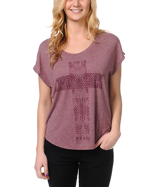 Cea+Jae Cross Your Heart Violet T-Shirt