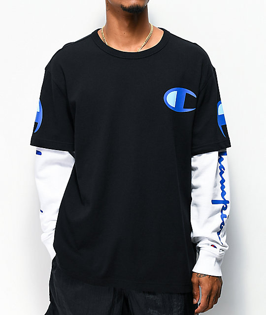 Champion 2Fer Black & White Long Sleeve T-Shirt