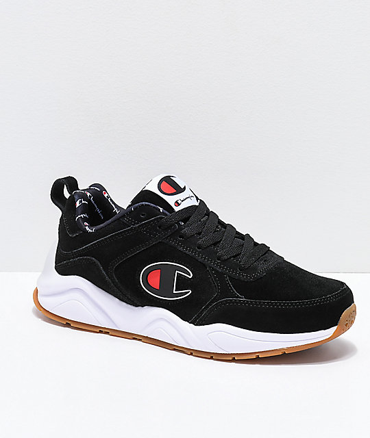 7a11f885002 Champion 93 Eighteen Big C Black   White Suede Shoes
