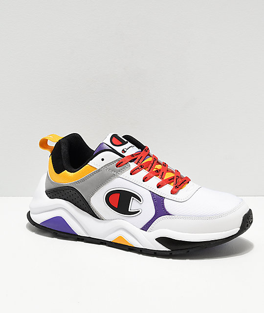 Champion 93 Eighteen Big C White, Purple, Yellow & Black Shoes