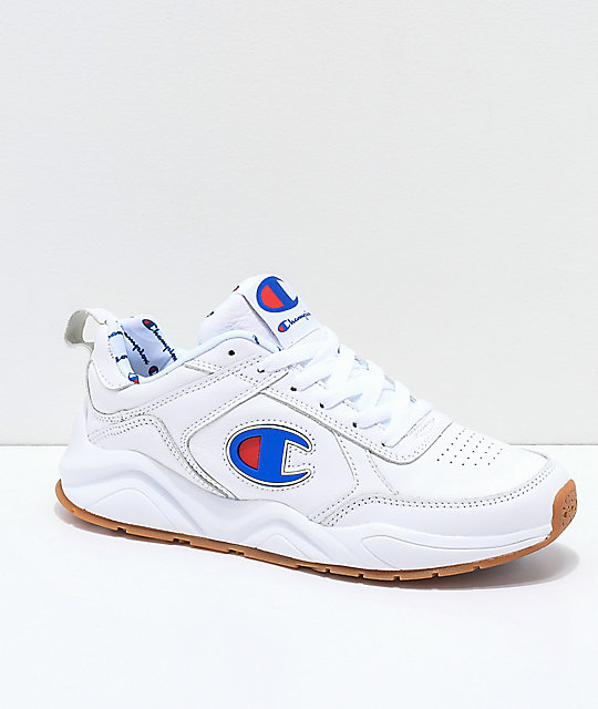 c46b47b5b43712 Champion 93 Eighteen Big C White Leather Shoes
