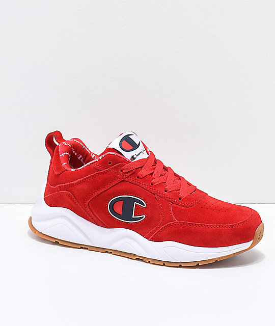 Champion 93 Eighteen Big C zapatos de ante escarlata y blanca