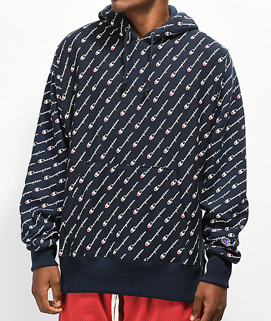 c619aa90f63e Champion All Over Print Navy Hoodie
