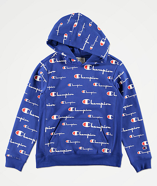 Champion All Over Print sudadera con capucha azul para niños