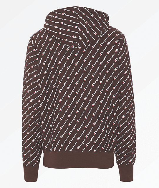 39d57c0af6e0 Champion All Over Script Maroon Hoodie