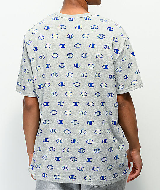 Champion Allover C Logo camiseta de punto gris