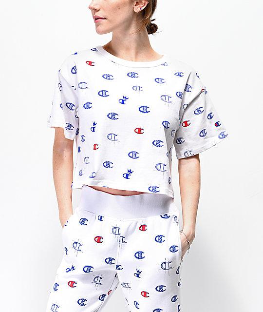buty do biegania nowe tanie najlepsze ceny Champion Allover Print White, Blue & Red Crop T-Shirt
