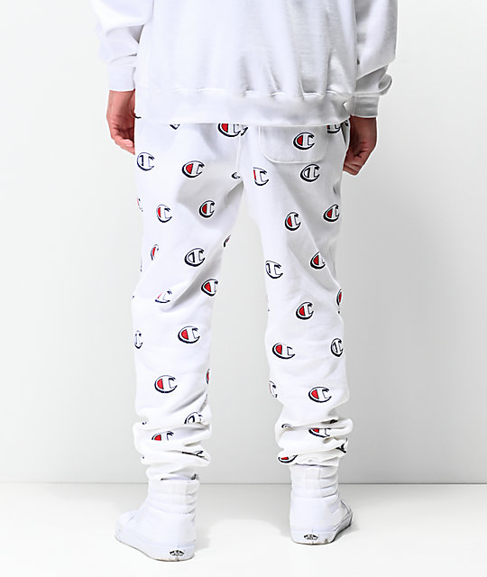 Champion Allover Print joggers blancos