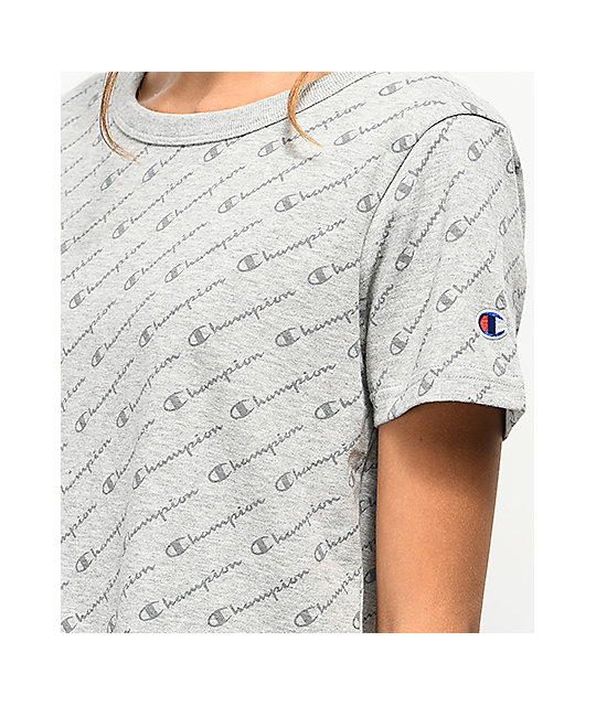 Champion Allover Script Heather Grey Crop T-Shirt