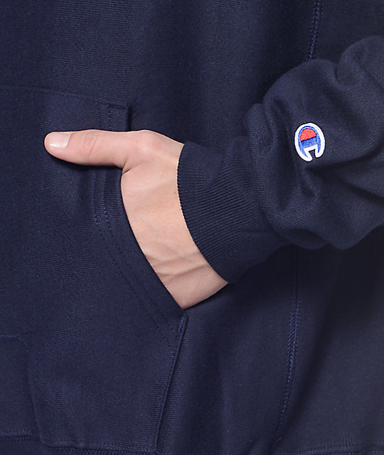 Champion Big C Reverse Weave Navy Hoodie