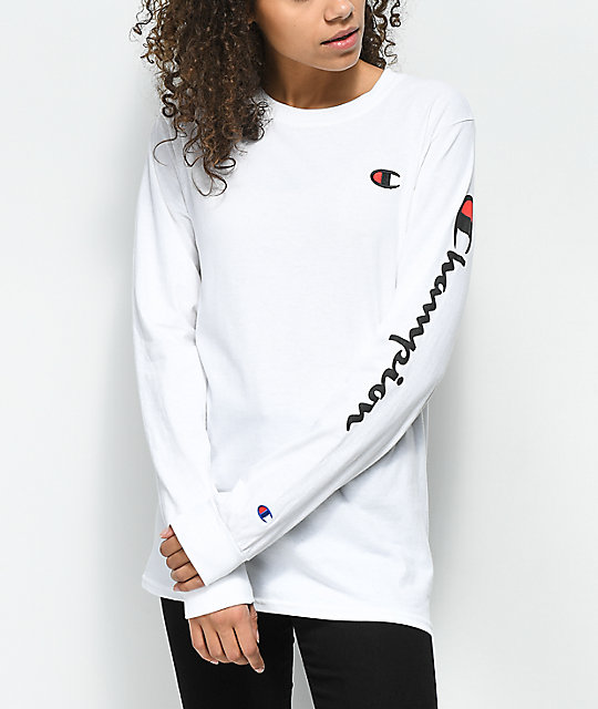 Champion big c script white long sleeve t shirt zumiez for What is a long sleeve t shirt