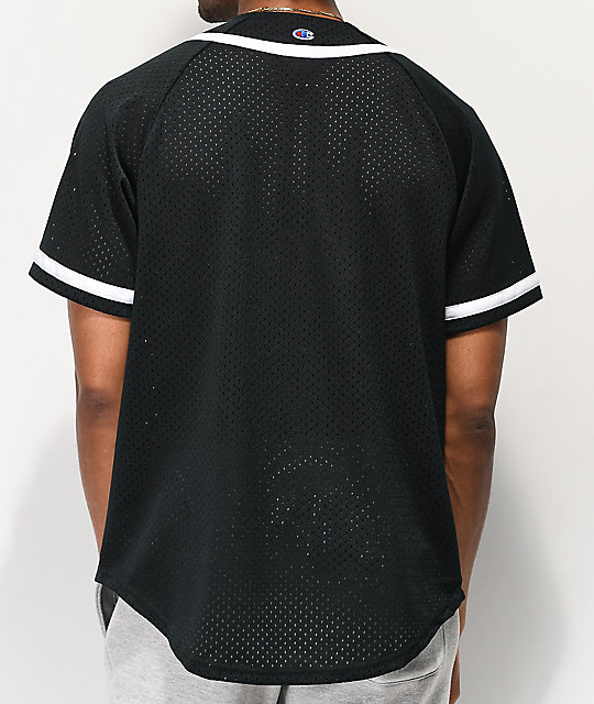 Champion Black Mesh Baseball Jersey
