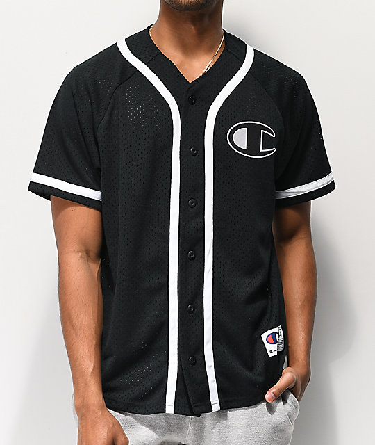 38a37599e18 Champion Black Mesh Baseball Jersey