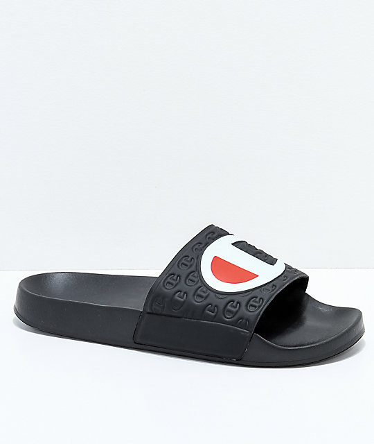 3aedc1461 Champion Black Slide Sandals