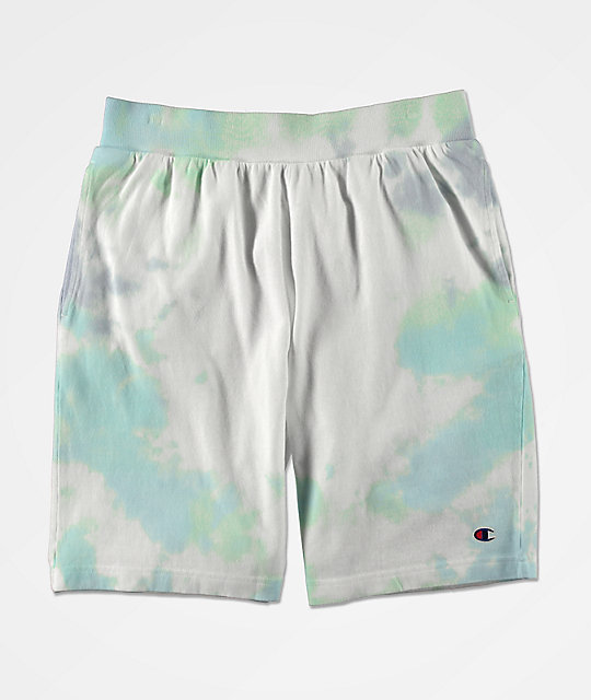 Champion Blue & Green Cloud Dye Sweat Shorts