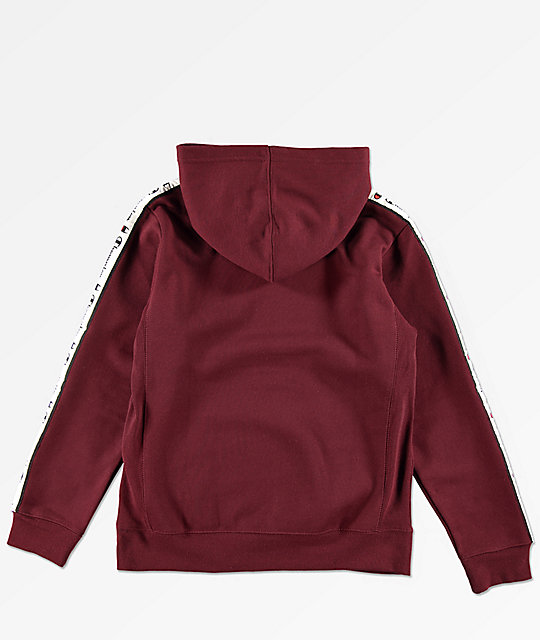 Champion Boys C Patch Taped Maroon Hoodie
