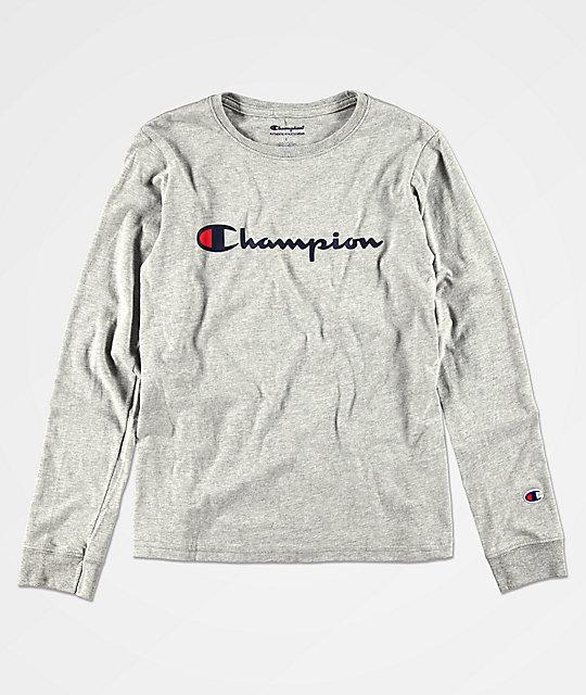 99401650 Champion Boys Heritage Grey Long Sleeve T-Shirt | Zumiez