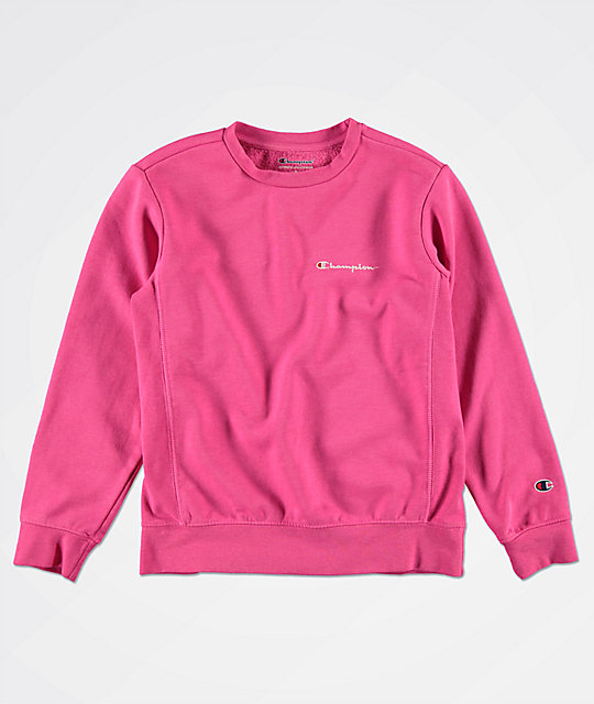 3ae59348c Champion Boys Heritage Script Pink Crew Neck Sweatshirt | Zumiez.ca