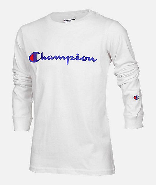 fe42b7eb Champion Boys Heritage Script White Long Sleeve T-Shirt | Zumiez.ca